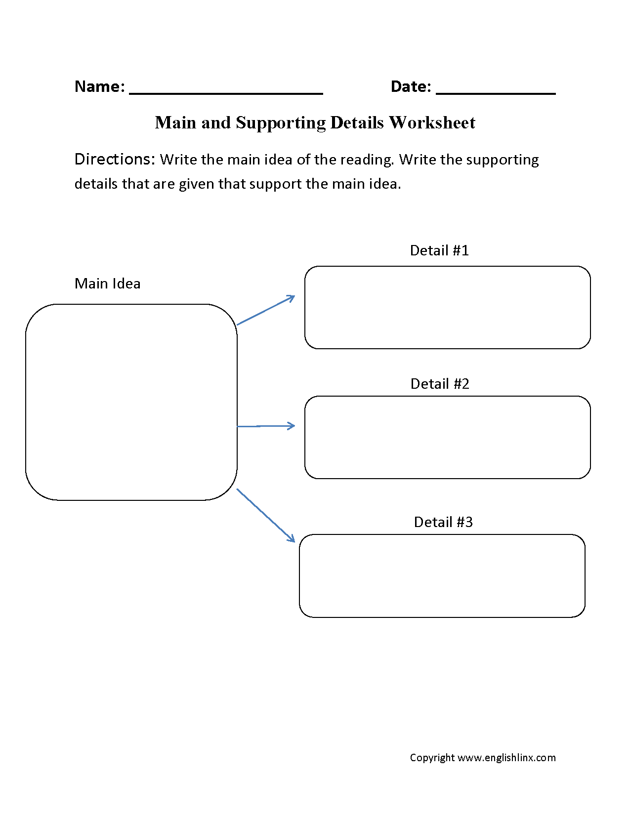13 Best Images Of Idea Supporting And Main Worksheets