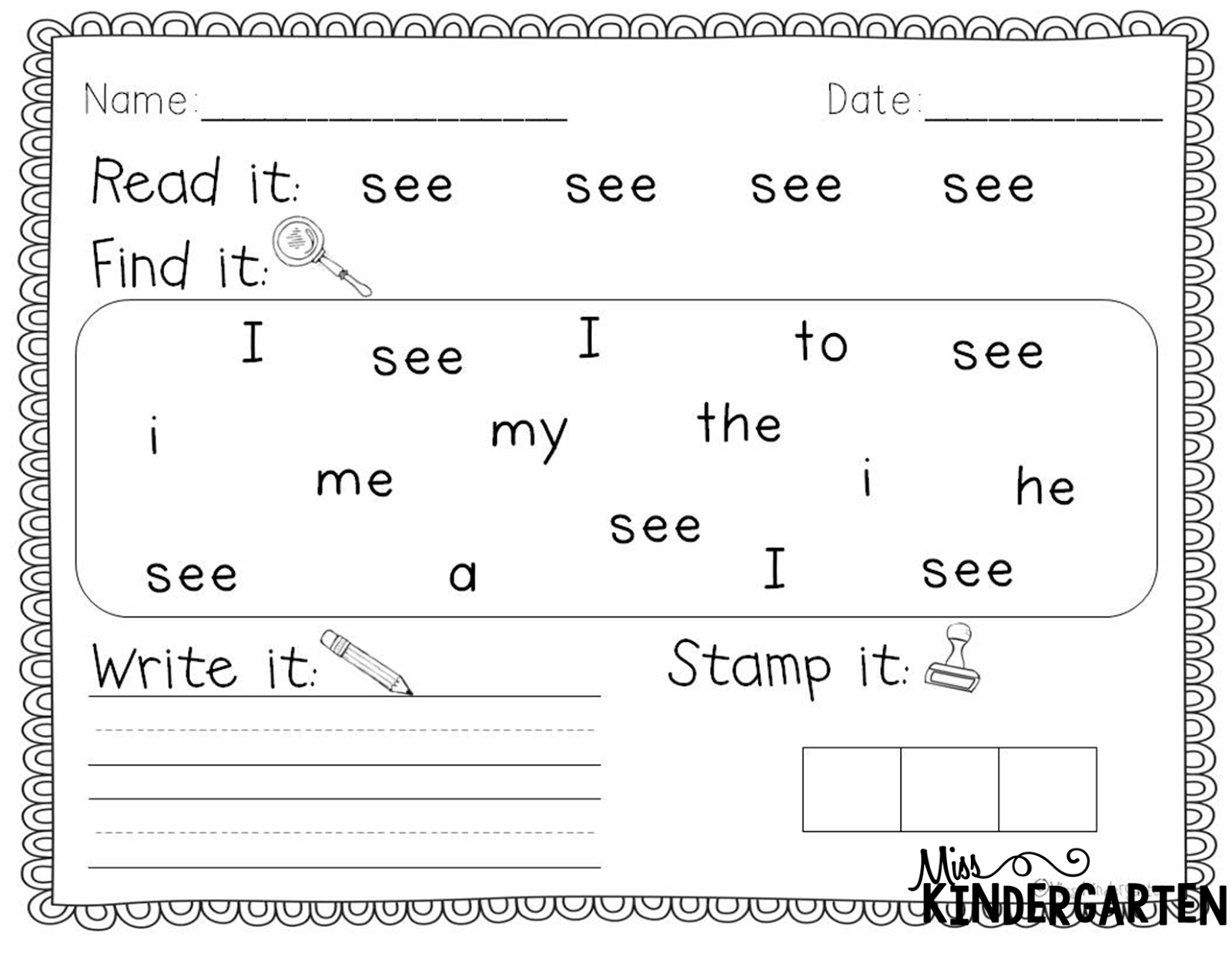 Preschool Sight Words Worksheets