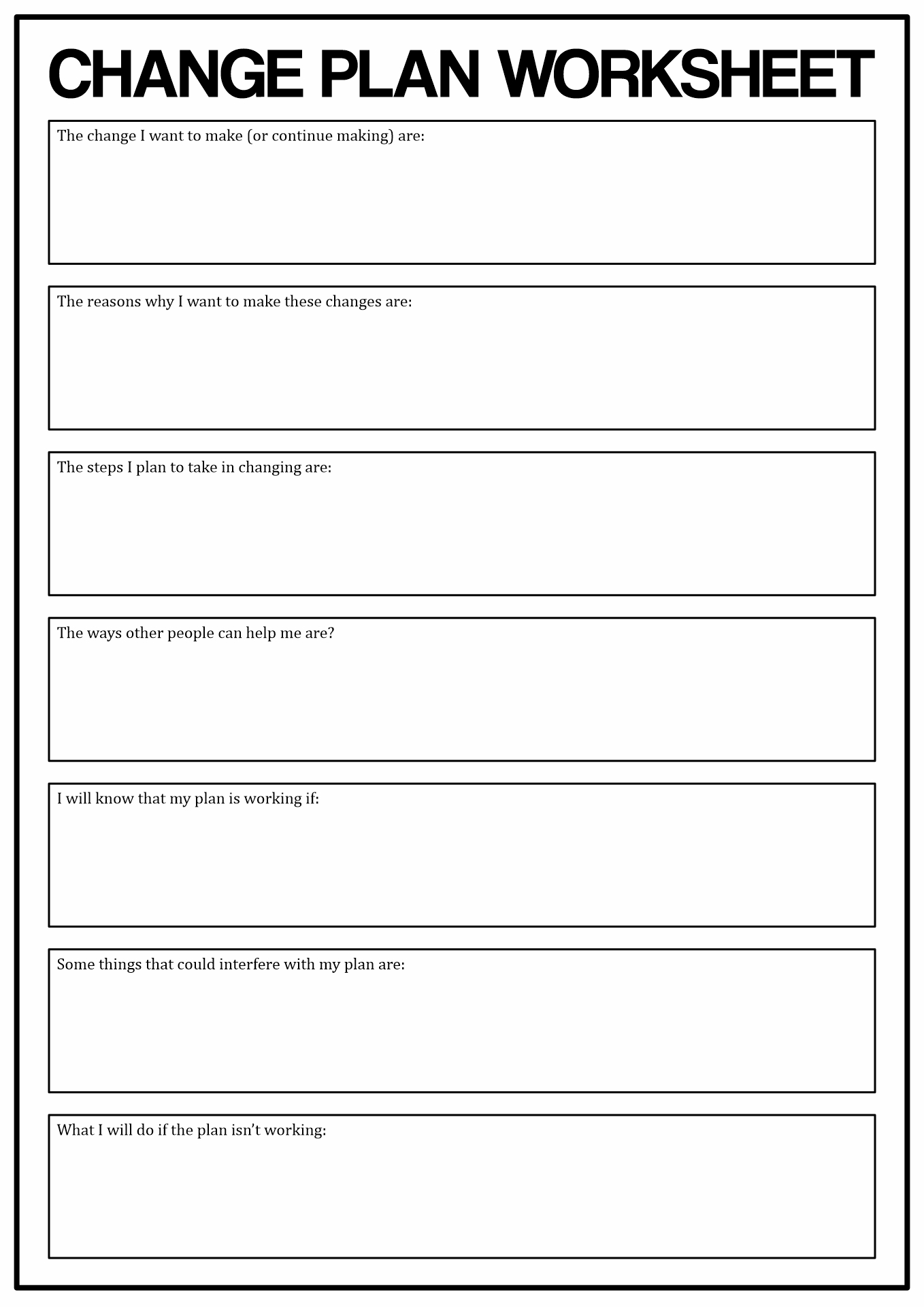 Stages Of Change Worksheet Worksheets Tataiza Free