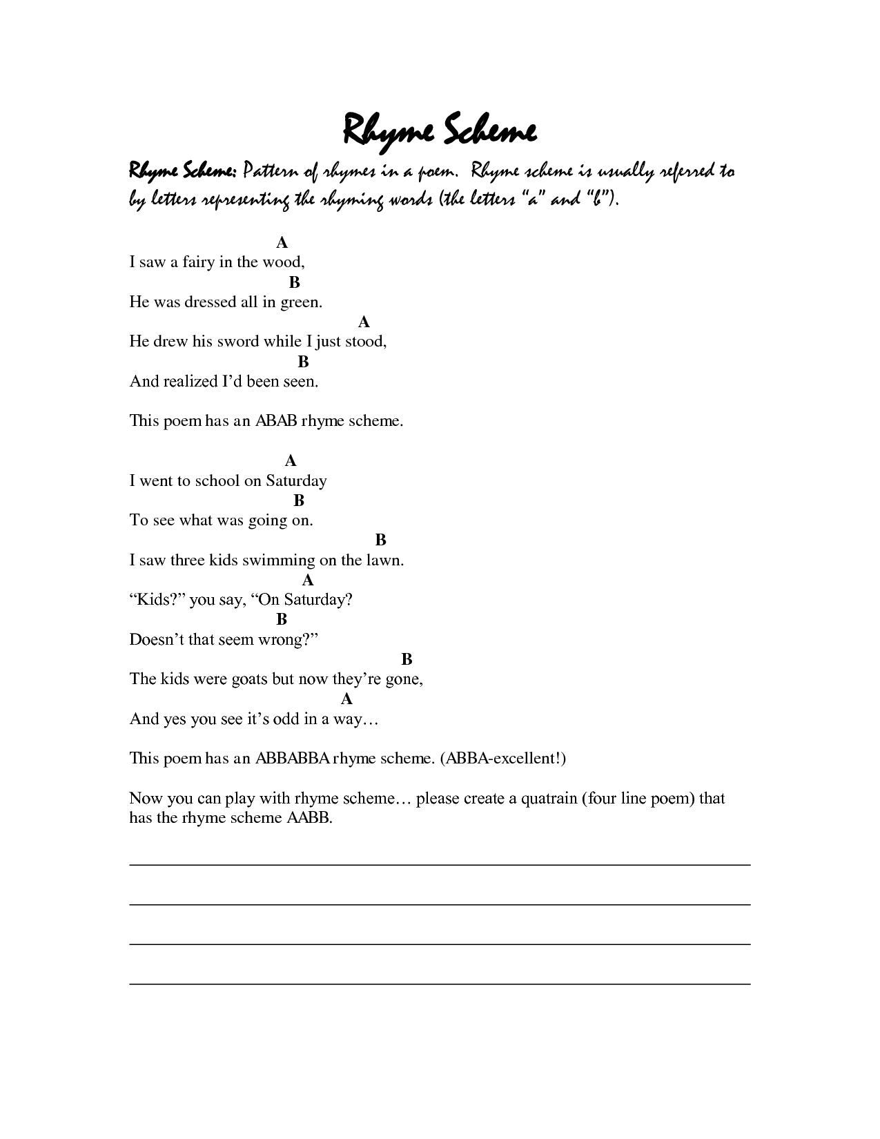 Yzing A Poem Worksheet