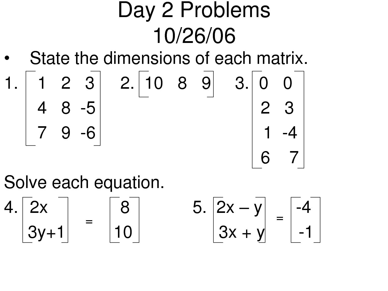 14 Best Images Of Matrix Equations Worksheet