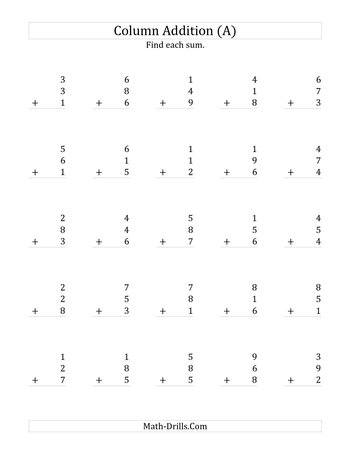 Adding 3 Digit Numbers Worksheet