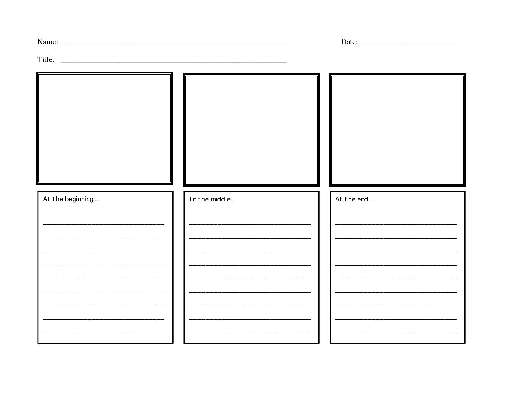 Writing Beginning Middle End Worksheet