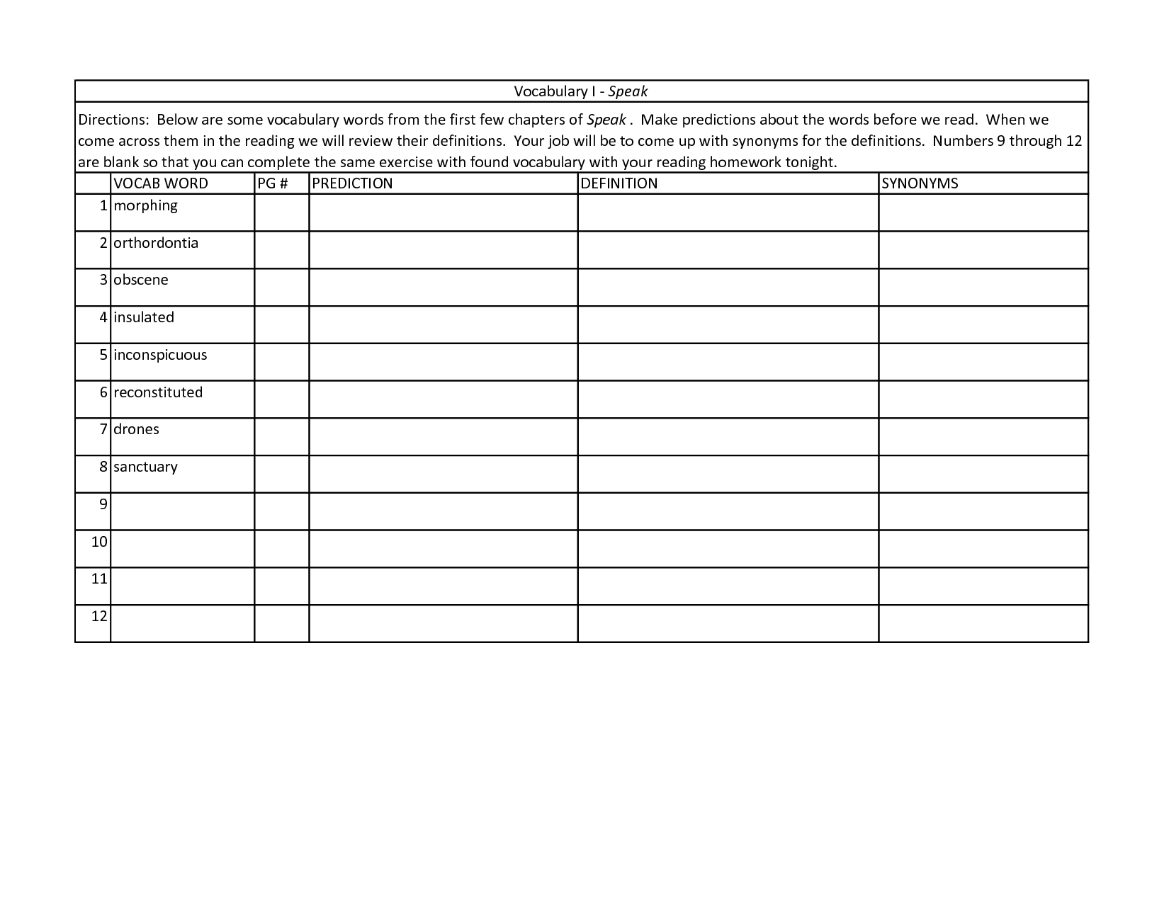 Blank Worksheet Templates For Word