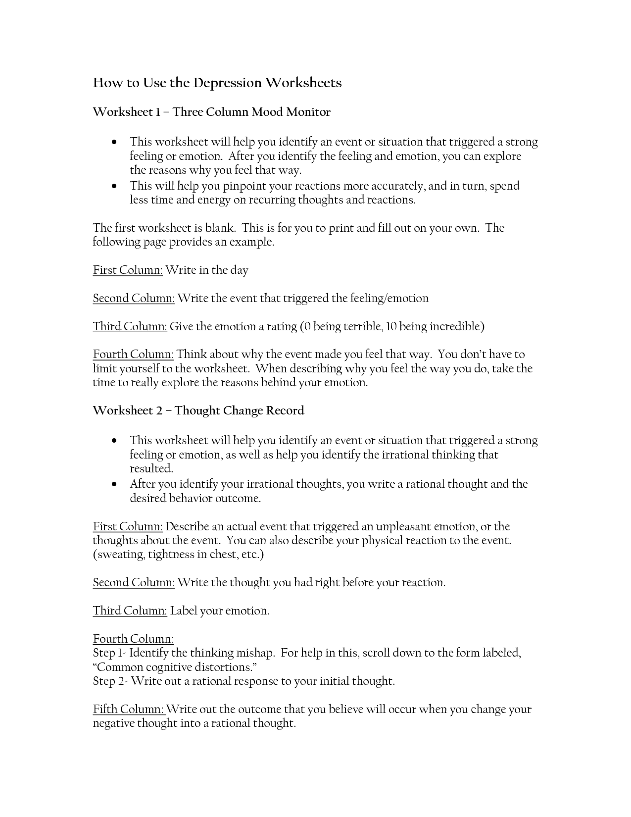 13 Best Images Of Rational Emotive Therapy Worksheet