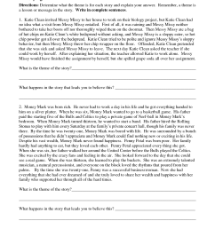 Identifying Theme Worksheets 4th Grade   Printable Worksheets and  Activities for Teachers [ 1650 x 1275 Pixel ]