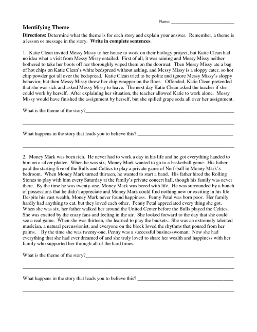 small resolution of Identifying Theme Worksheets 4th Grade   Printable Worksheets and  Activities for Teachers