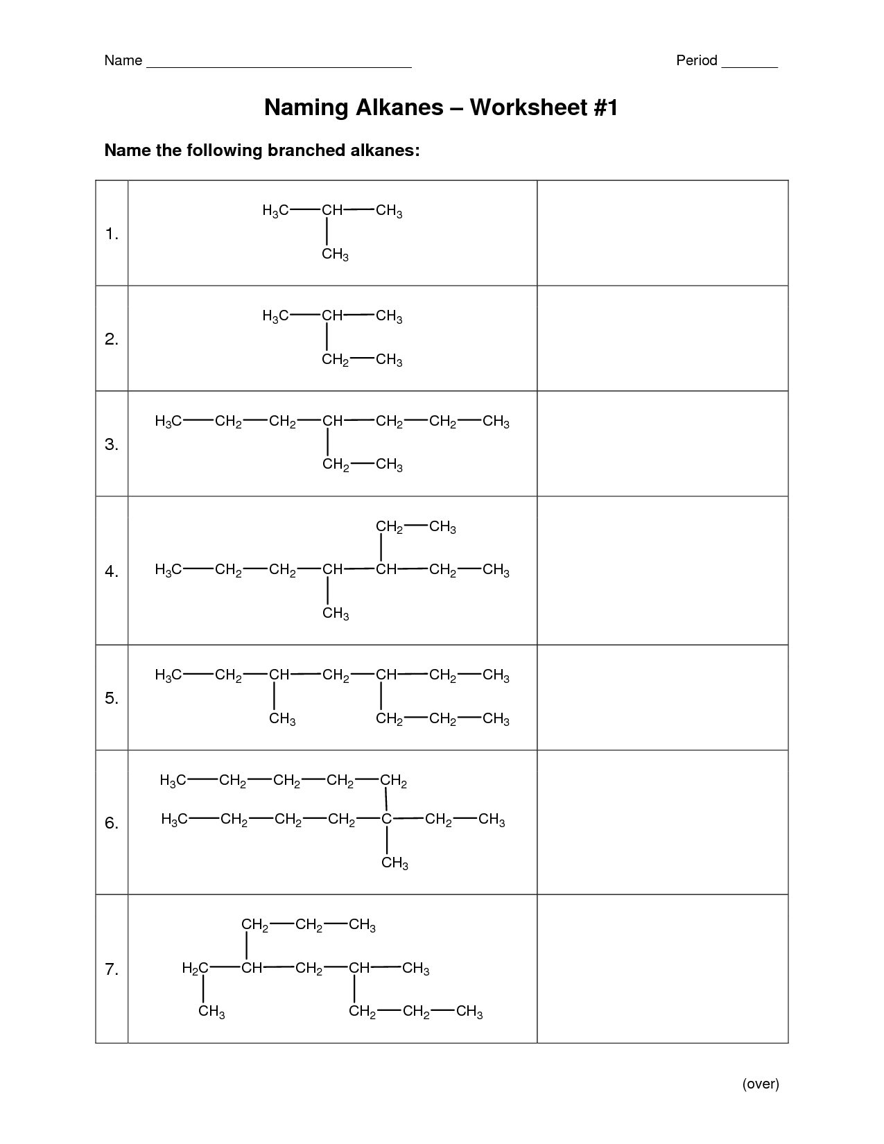 Functional Groups Worksheet Drawing
