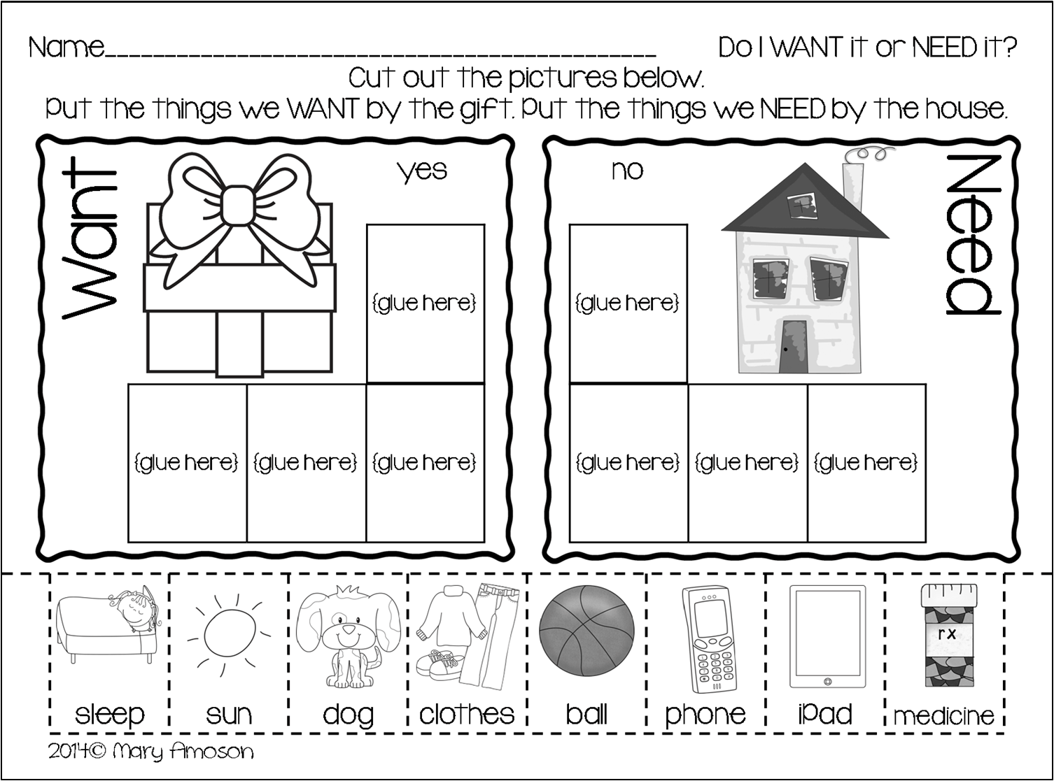 18 Best Images Of Needs Vs Wants Kindergarten Worksheets