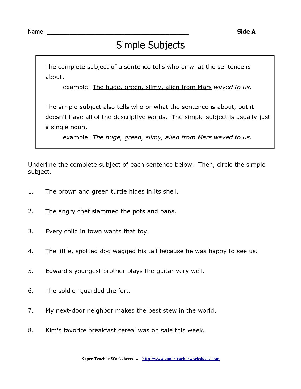 Complete Subject Worksheet Identify