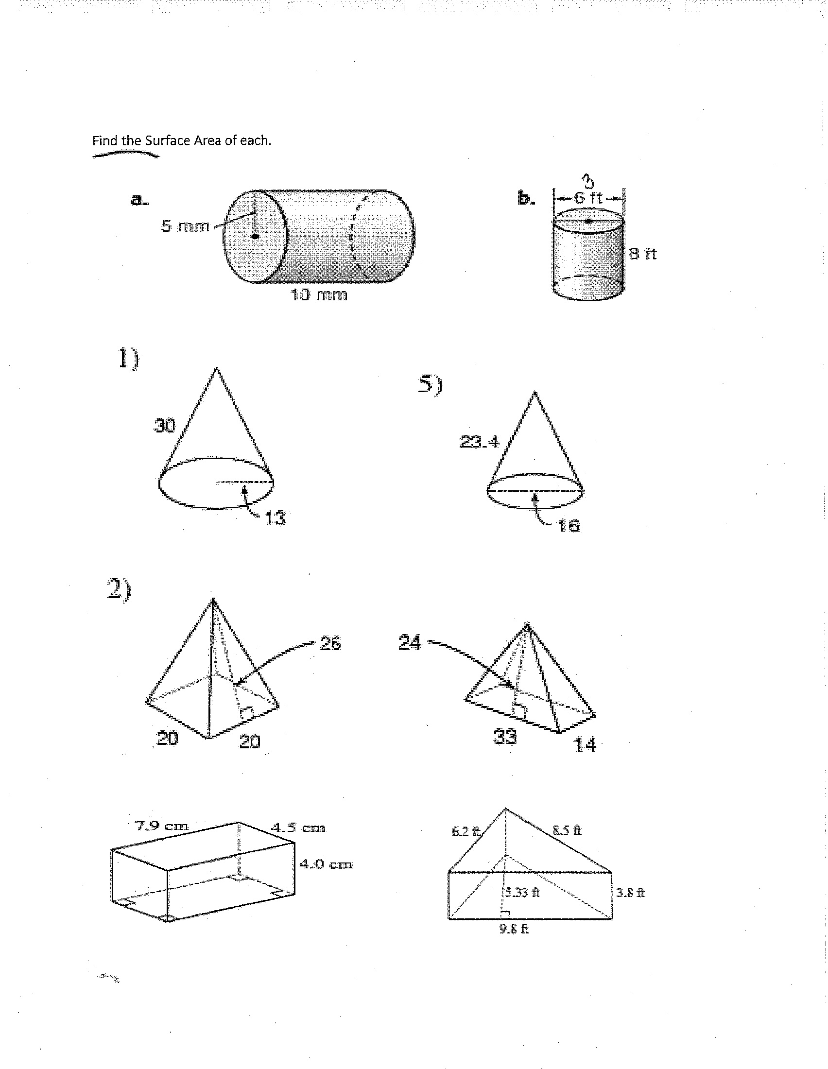 12 Best Images Of Surface Area Worksheets 7th Grade