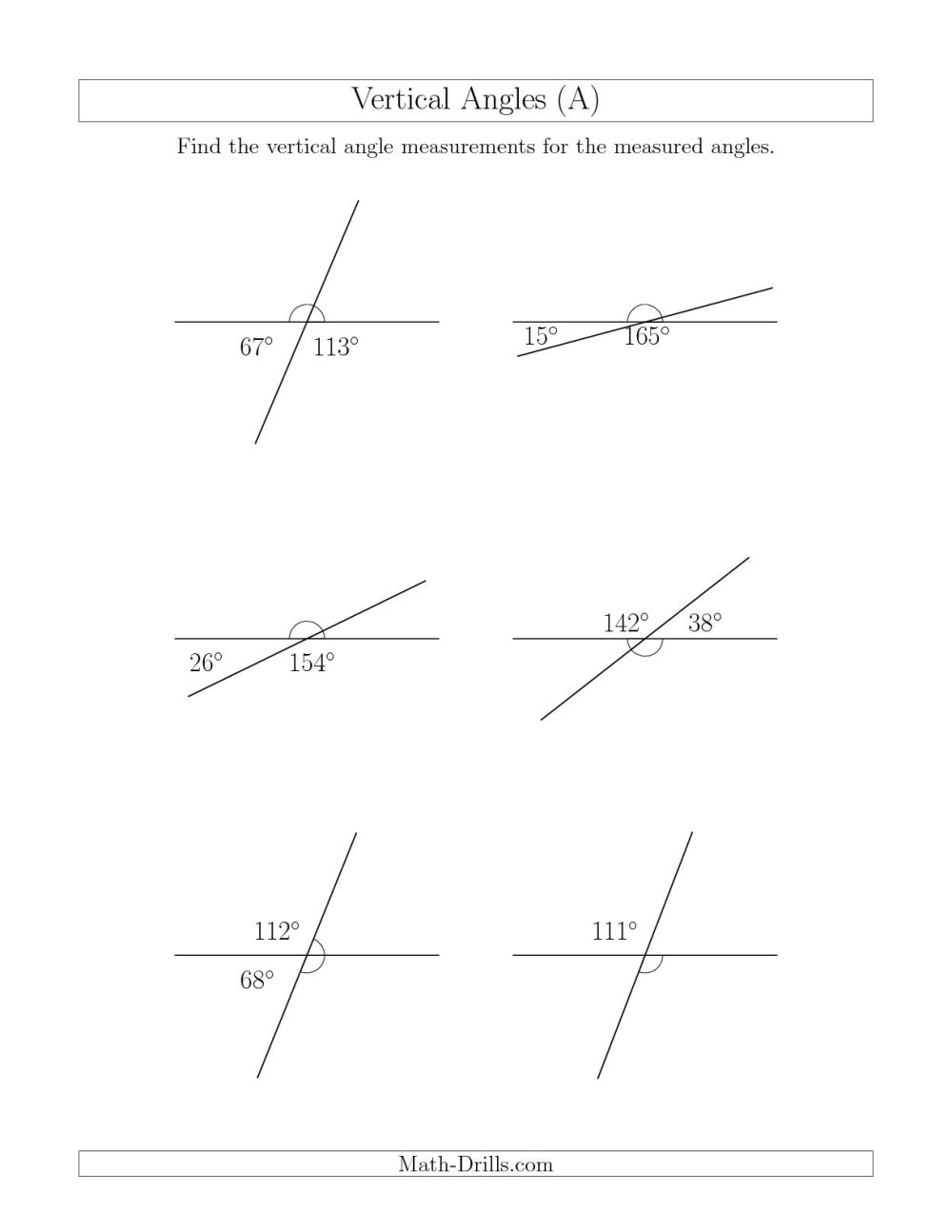 medium resolution of Mixed Complementary Supplementary Angle Worksheet   Printable Worksheets  and Activities for Teachers