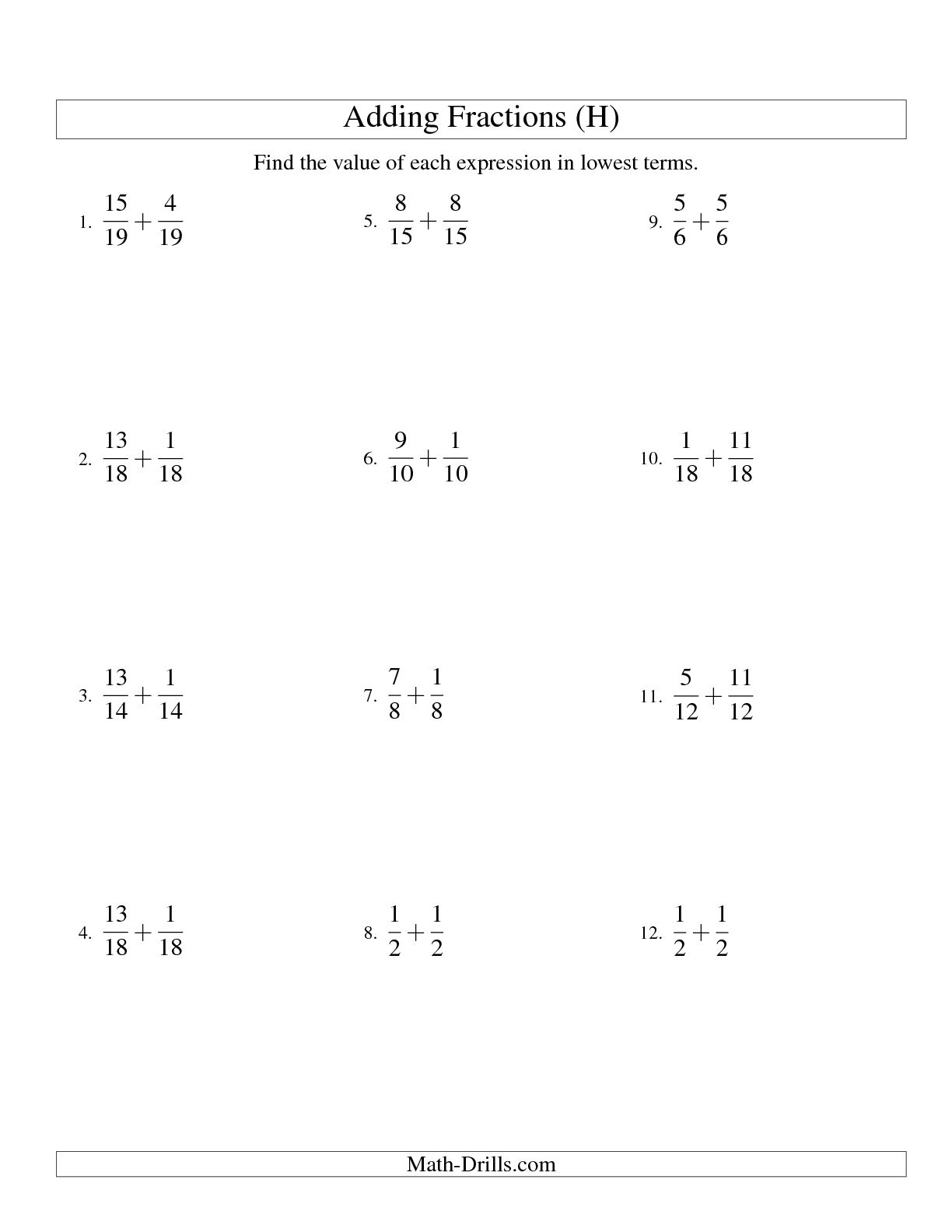 10 Best Images Of Adding Fractions Worksheets With Answer Key