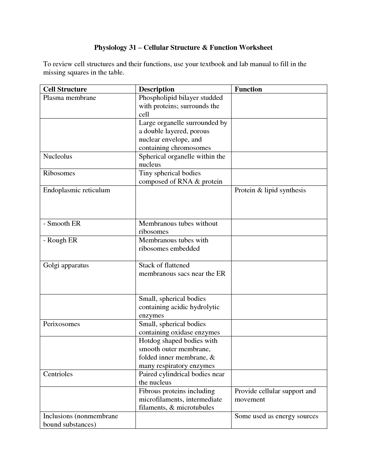 Structure Movement Worksheet