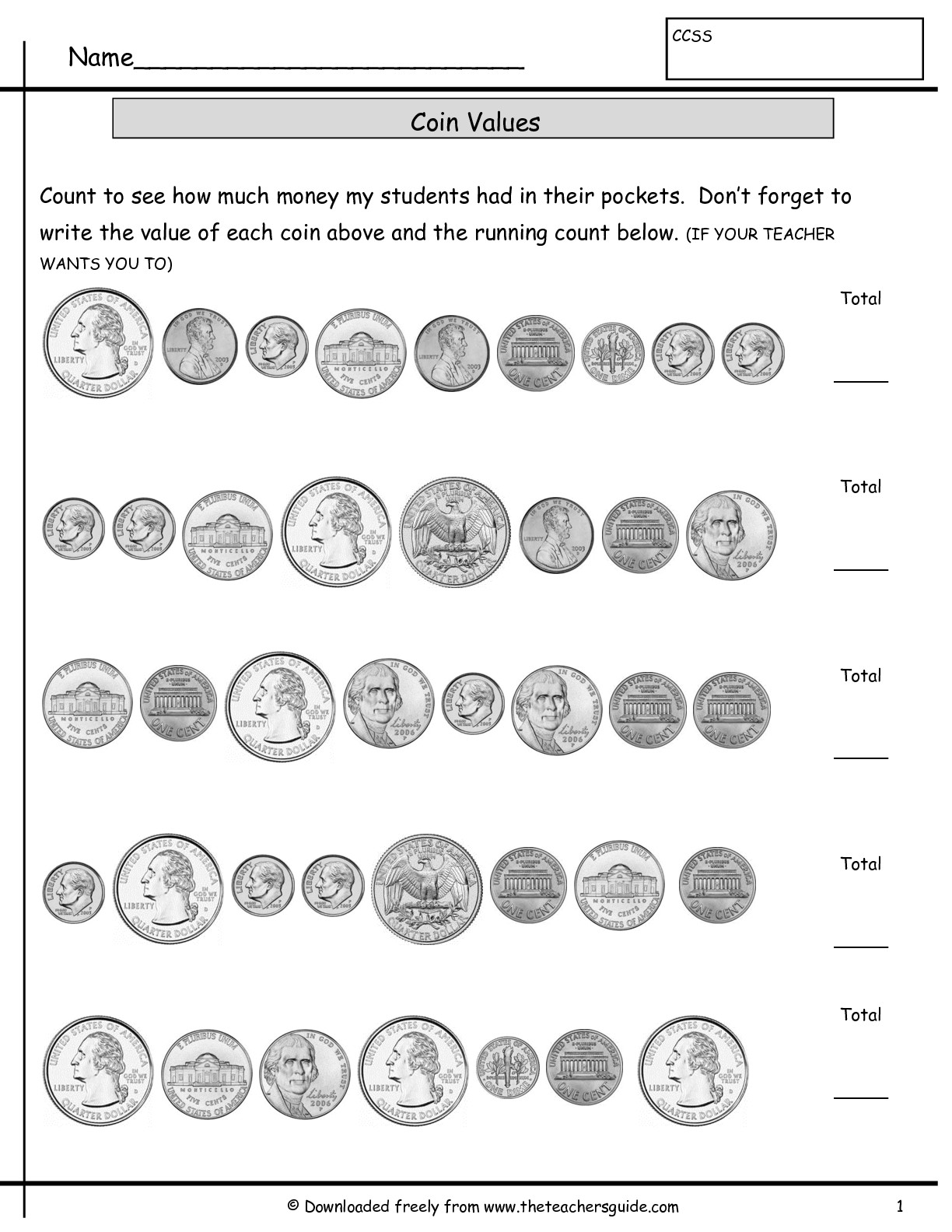 Cut And Paste Money Worksheet