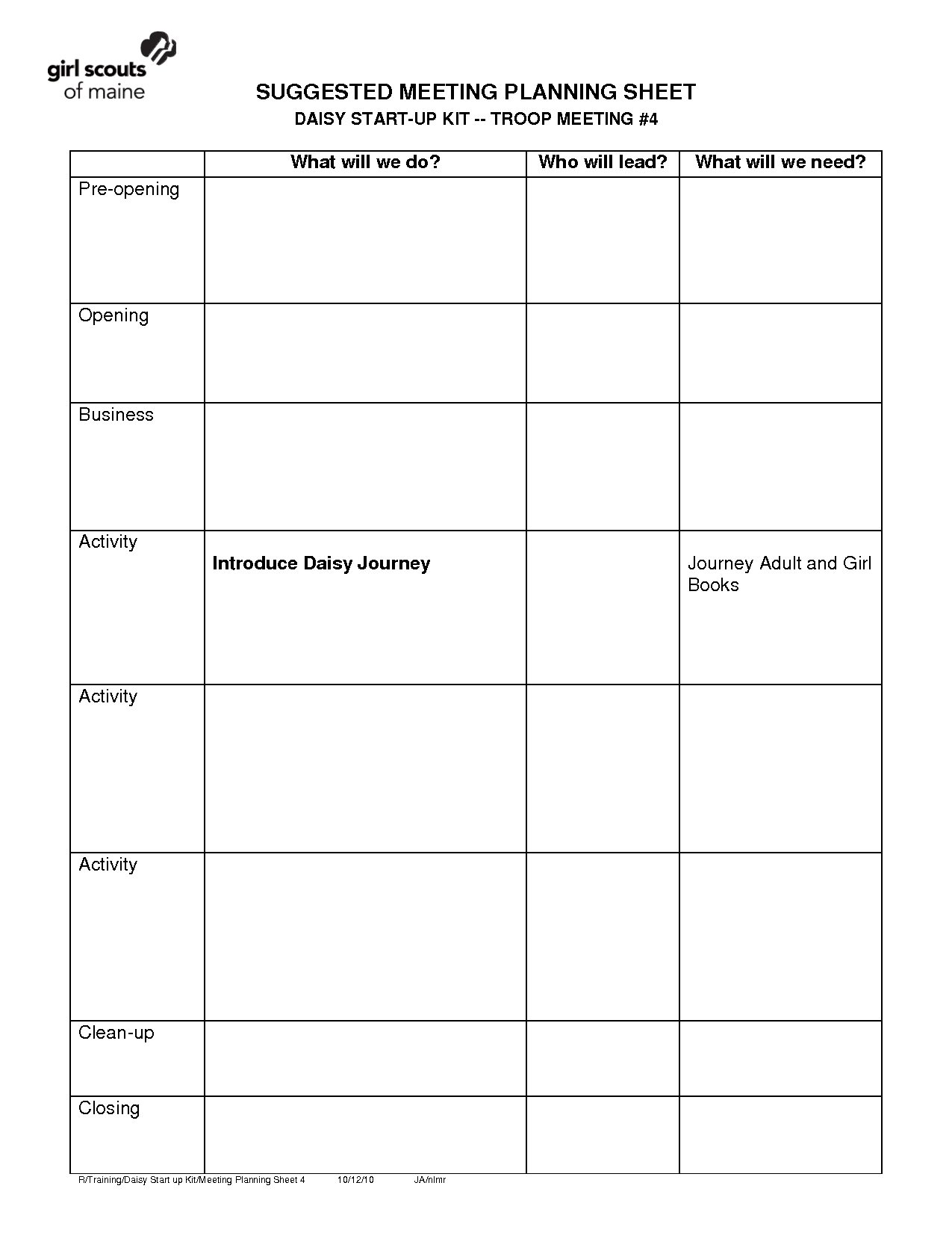 Girl Scout Travel Budget Worksheet