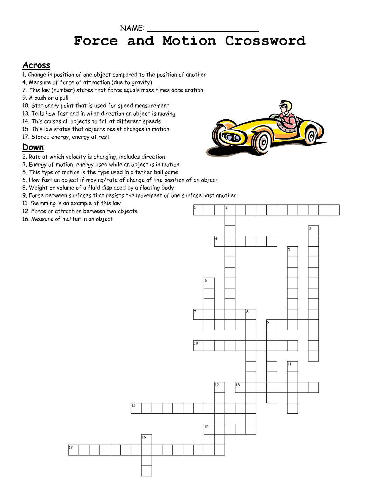 Force And Motion Review Worksheet