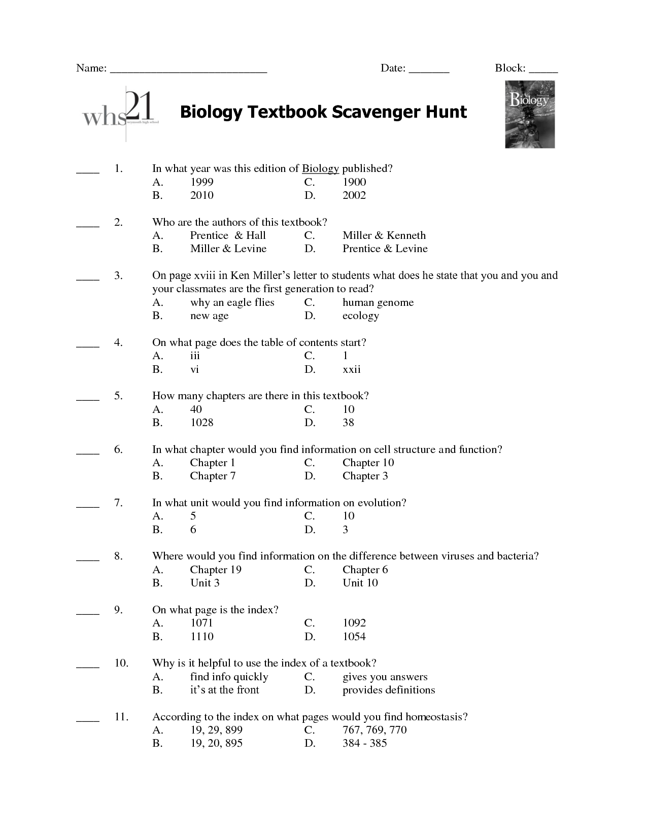 16 Best Images Of Miller And Levine Biology Worksheet