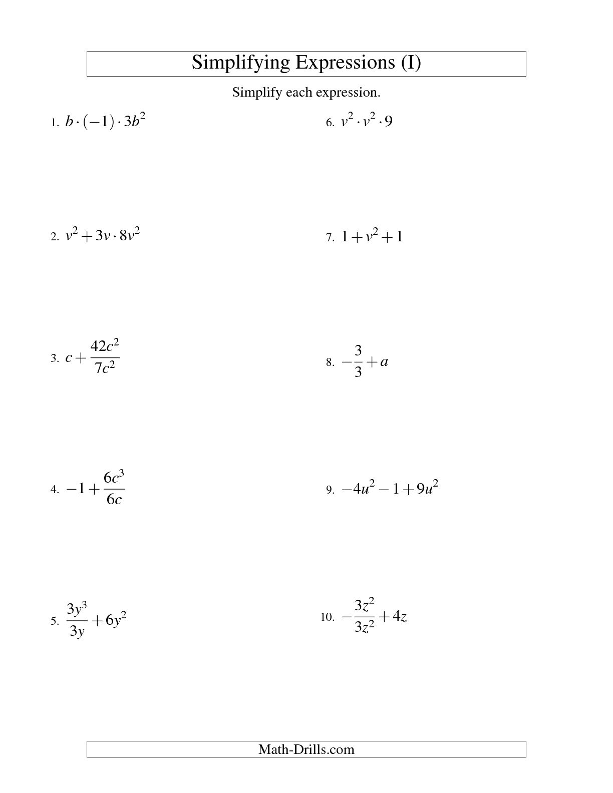13 Best Images Of Variables And Expressions Worksheets