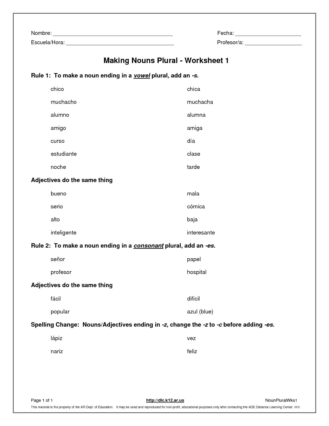 Singular And Plural Possessive Nouns Worksheets 4th Grade