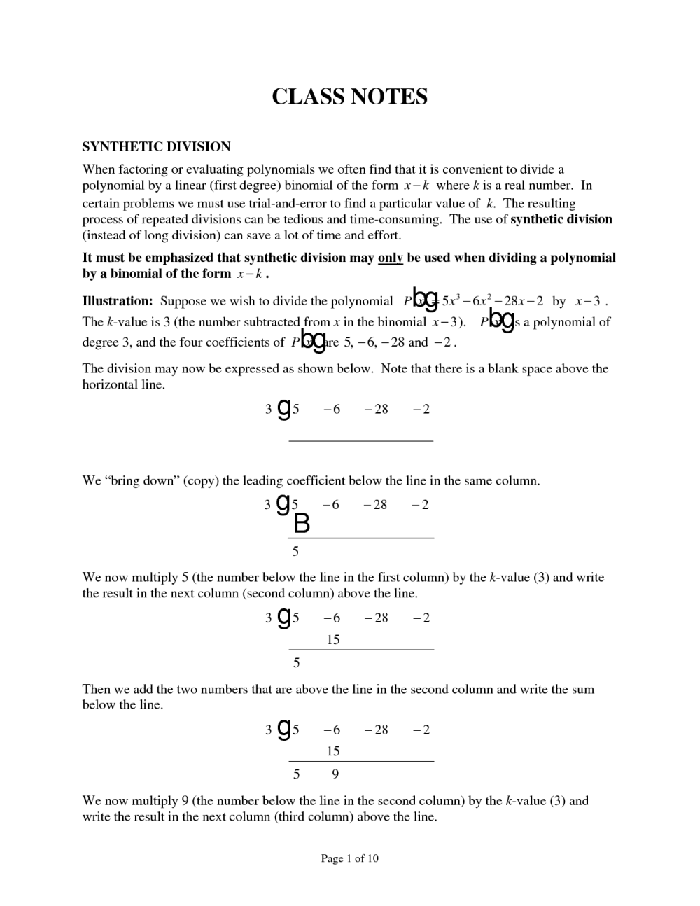 medium resolution of Polynomial Synthetic Division Worksheets   Printable Worksheets and  Activities for Teachers