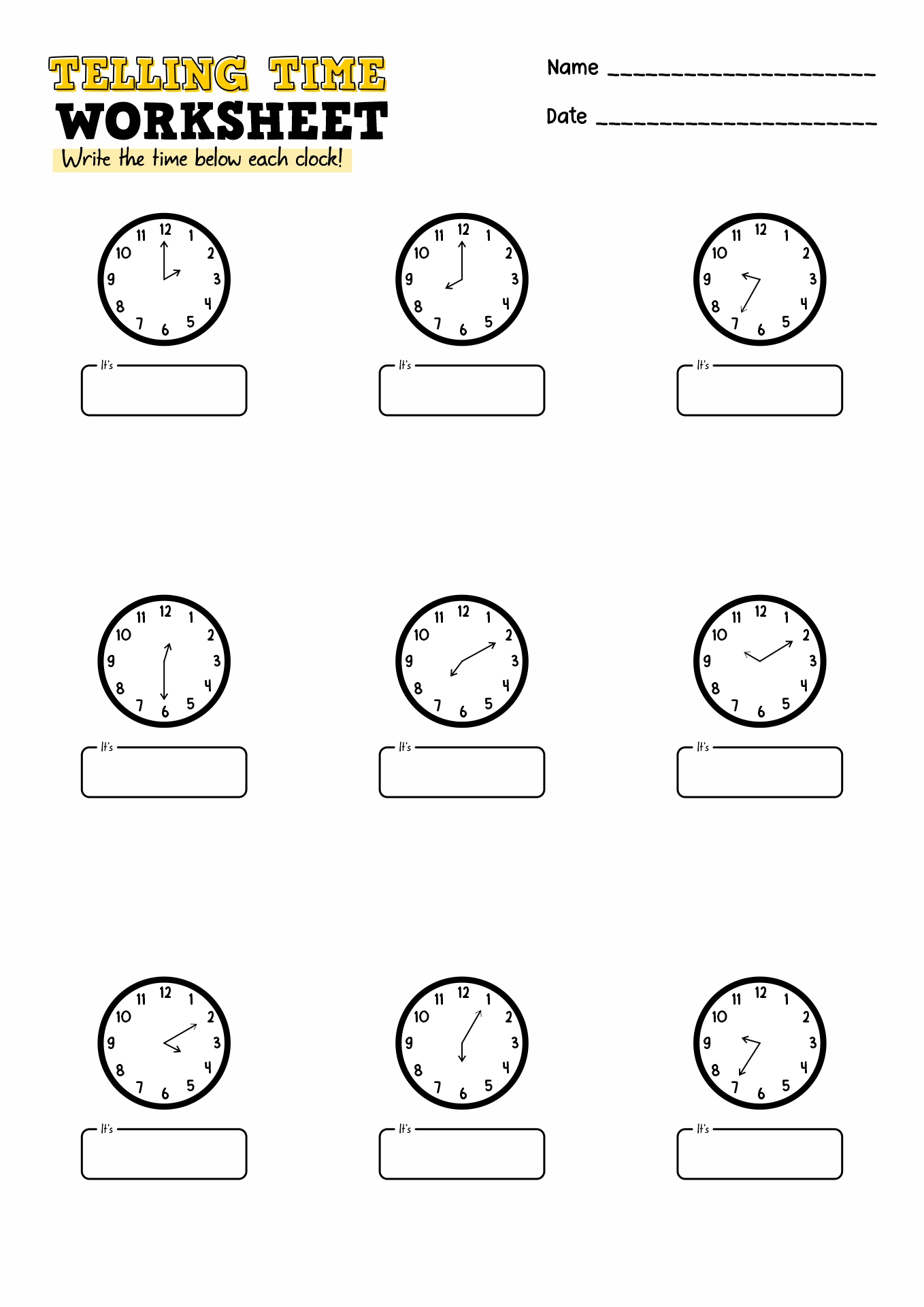 Worksheet For Time Grade 3