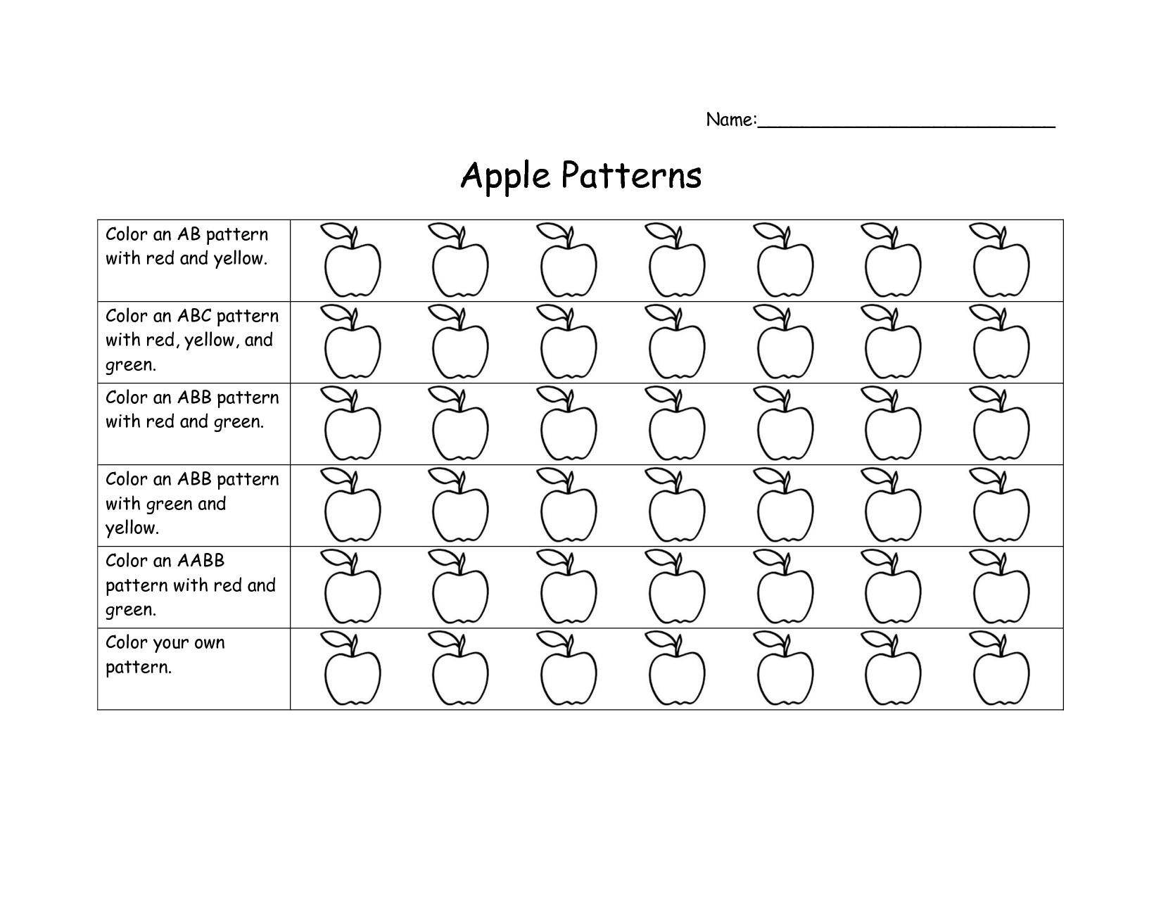 Aabb Patterns Worksheet