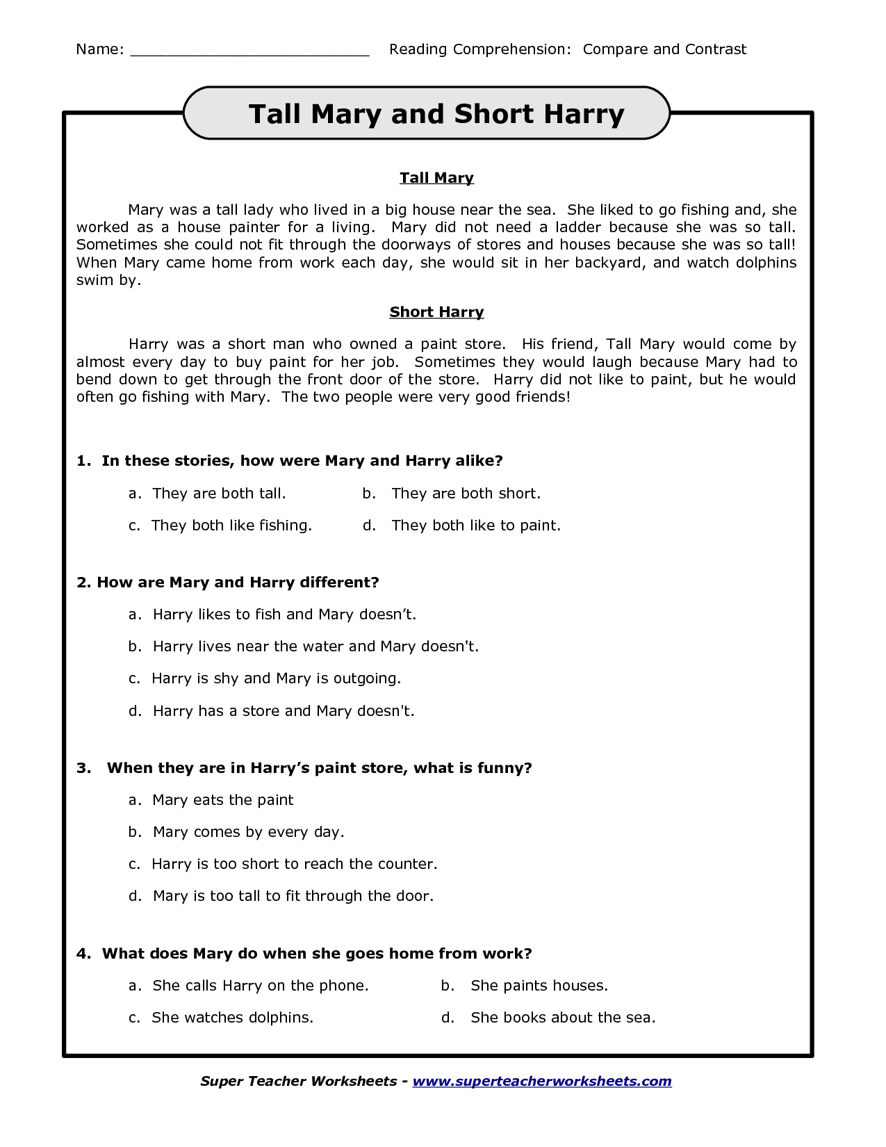 8 Best Images Of Super Teacher Worksheets Reading Comp