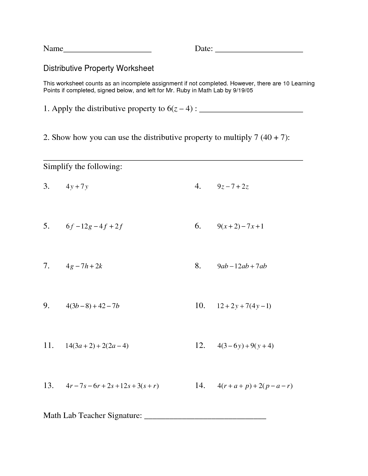 Distributive Property 6th Grade Worksheet