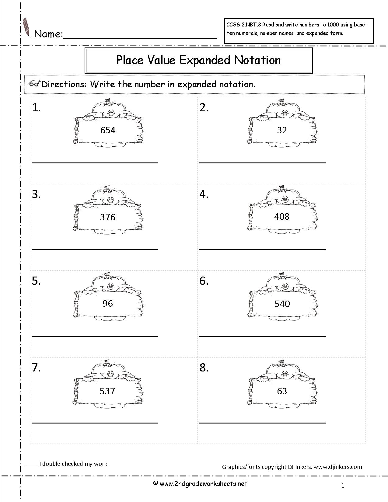 Place Value Notation Worksheet
