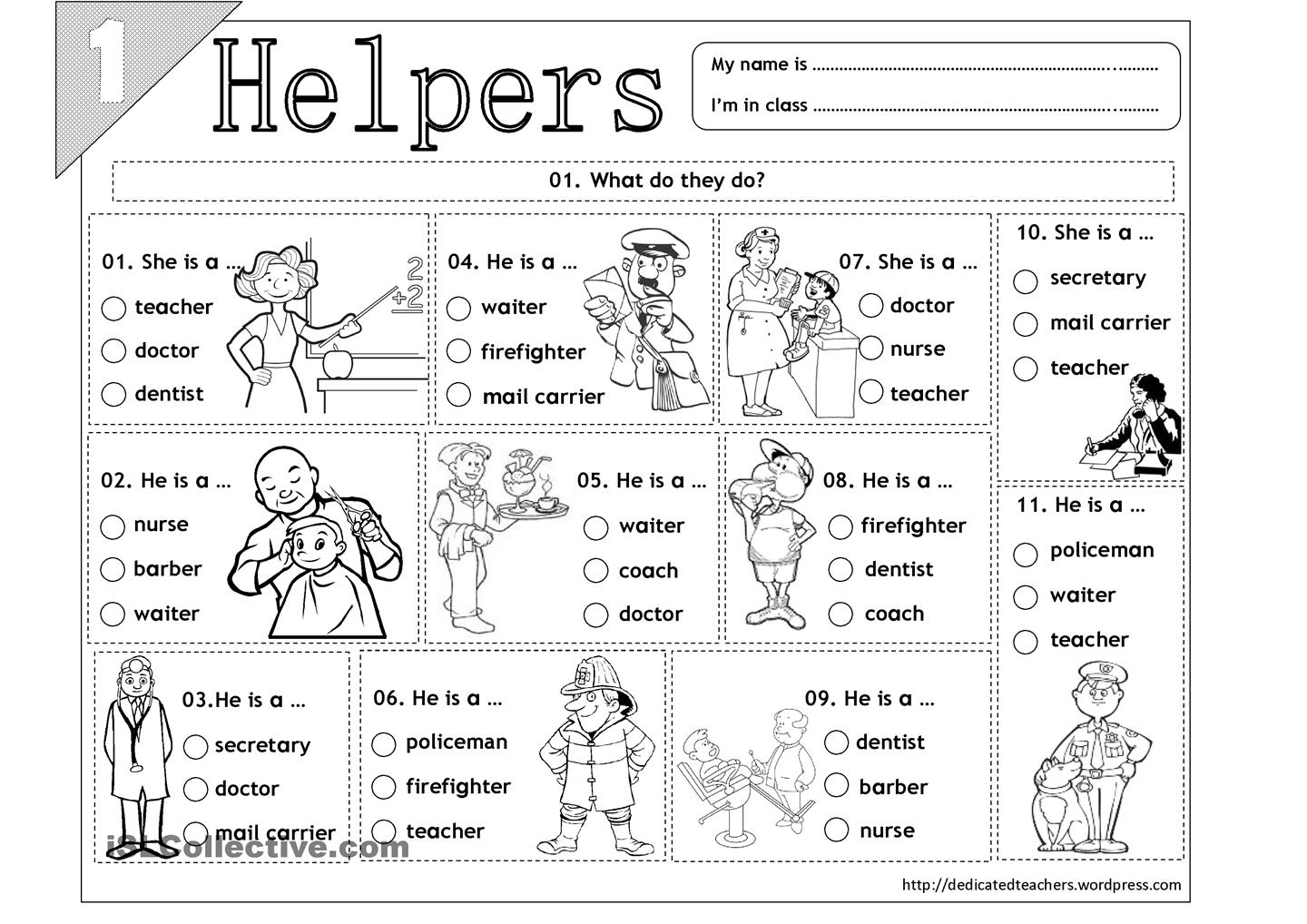15 Best Images Of Free Printable Worksheets Community Helpers Preschool