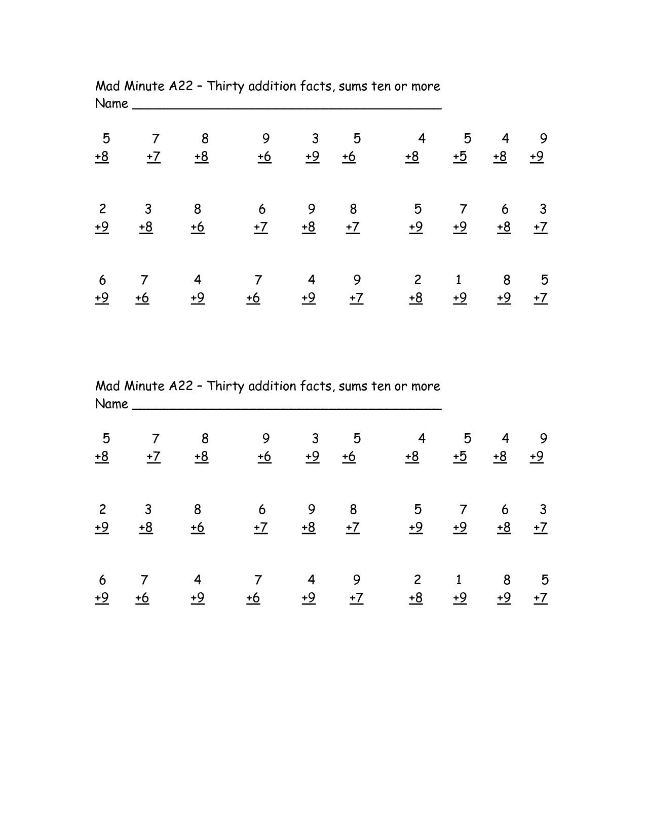 13 Best Images Of Mad Minute Multiplication Printable