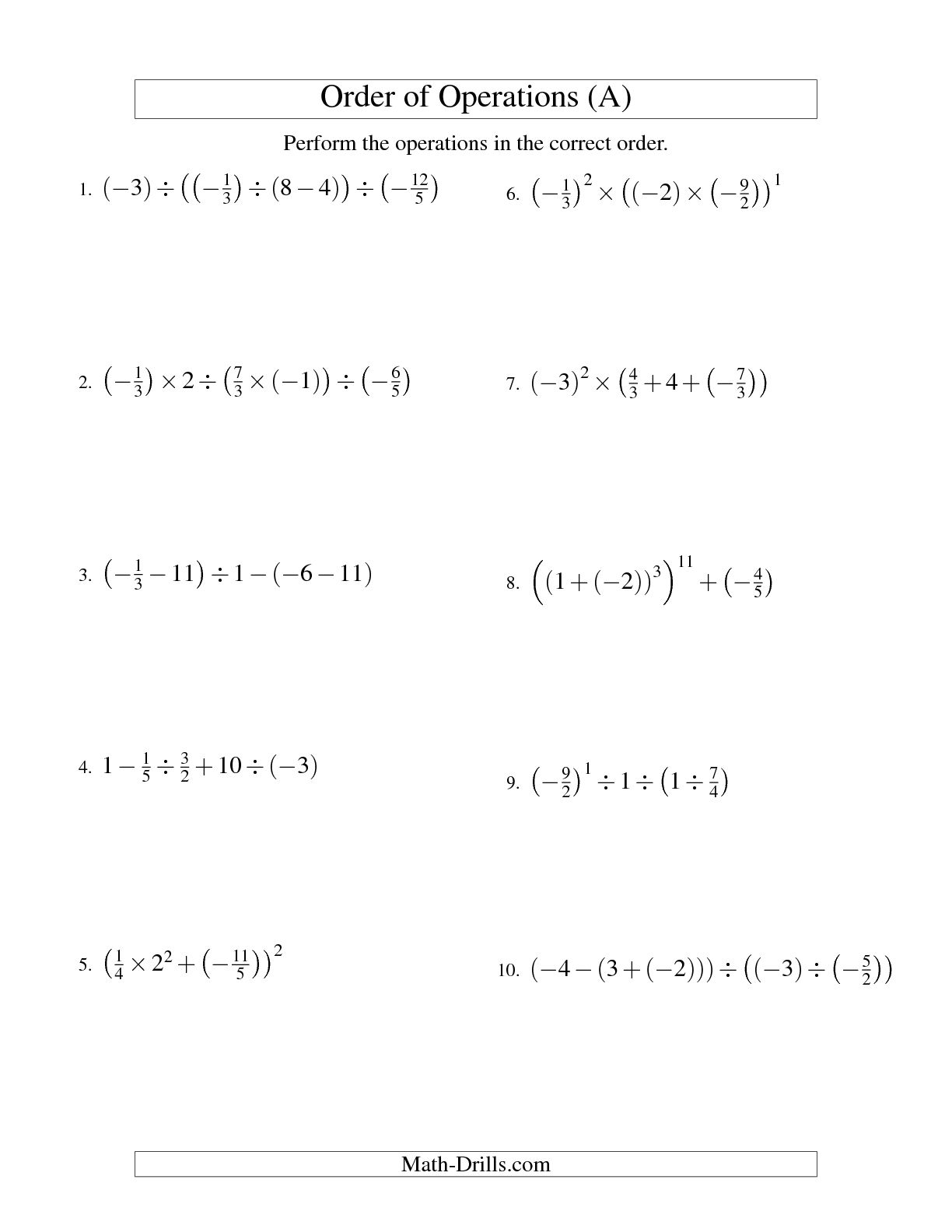12 Best Images Of Worksheets Order Of Operations Fractions