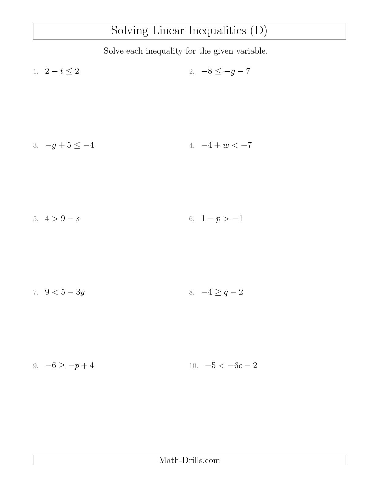 10 Best Images Of Solving Inequality Worksheet