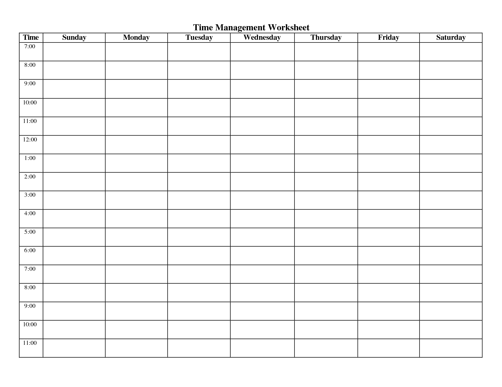 14 Best Images Of Blank Time Schedule Worksheet