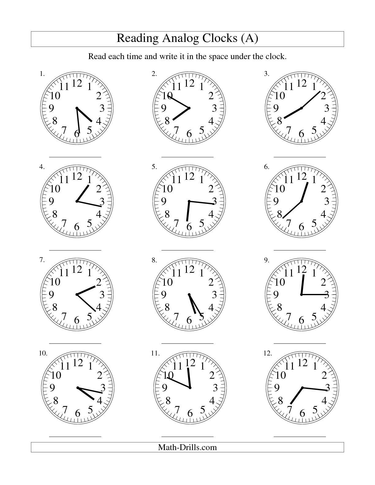 Digital Andog Clock Worksheets