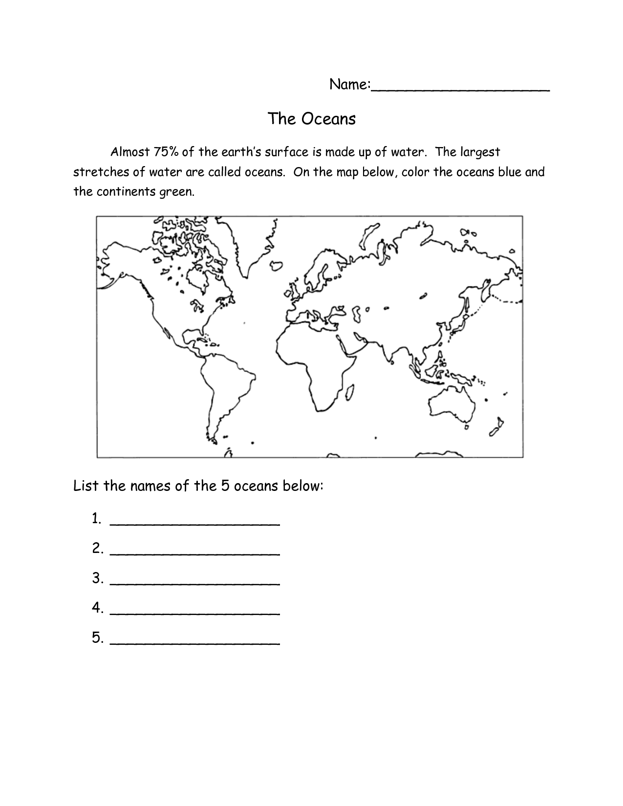 6 Best Images Of Ocean Currents Map Worksheet