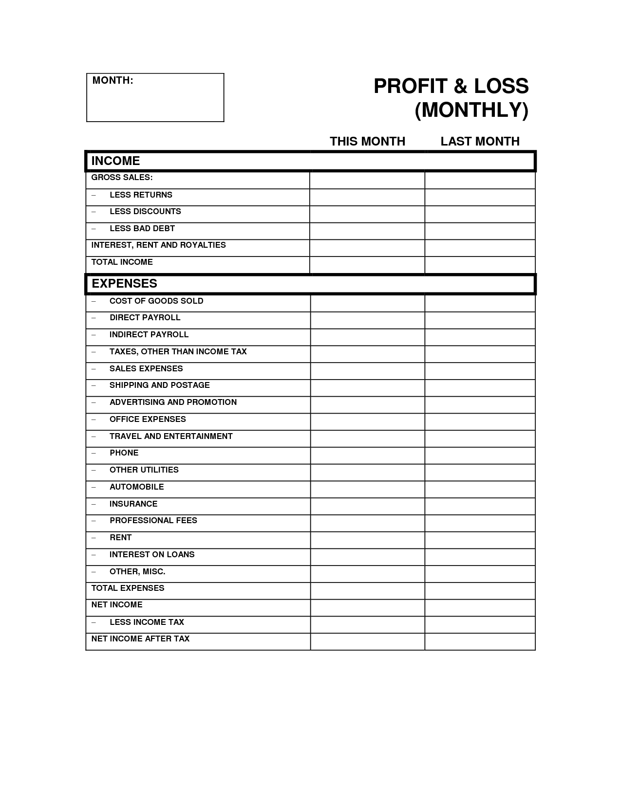 12 Best Images Of Personal Profit And Loss Worksheet