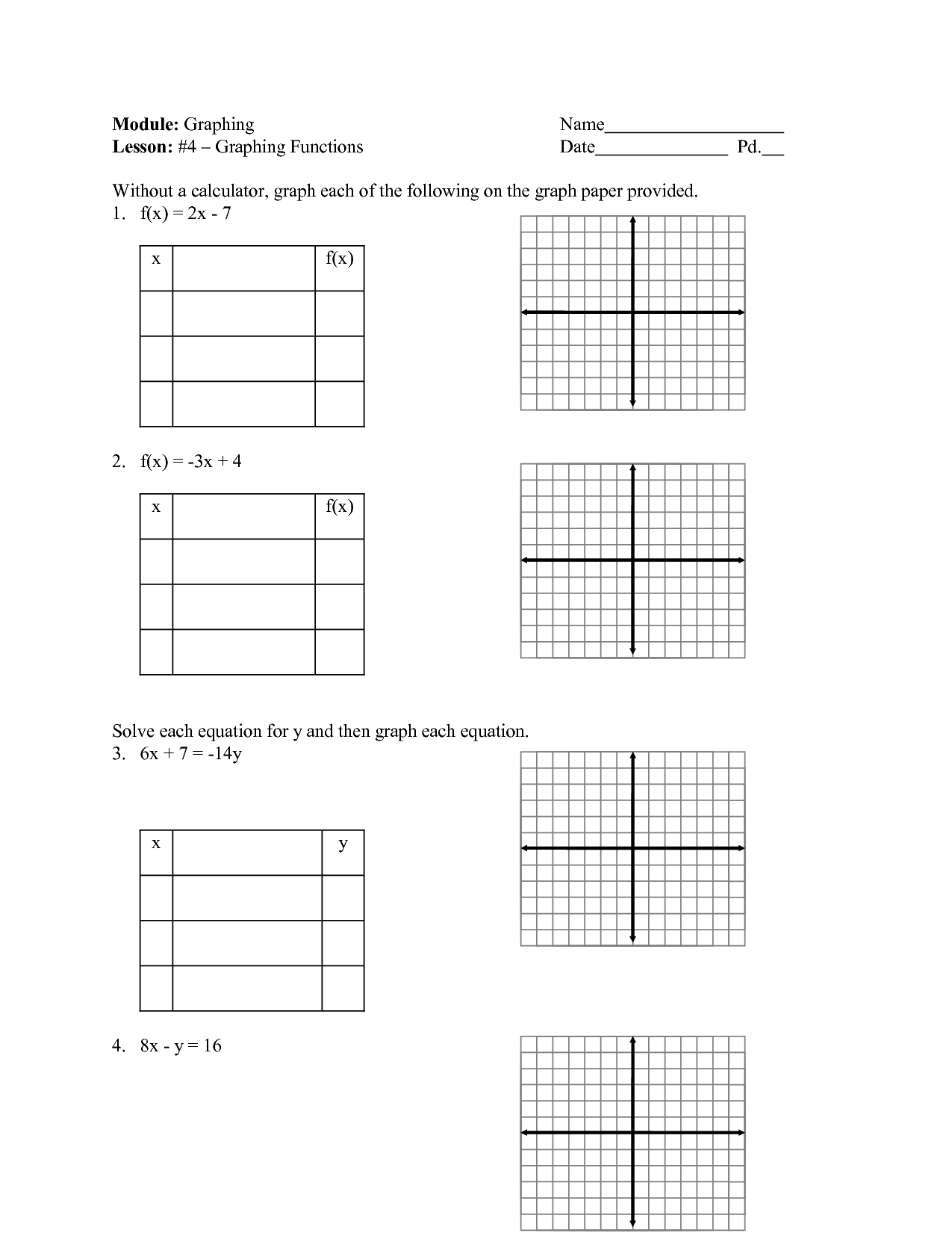 Linear Tables Worksheet
