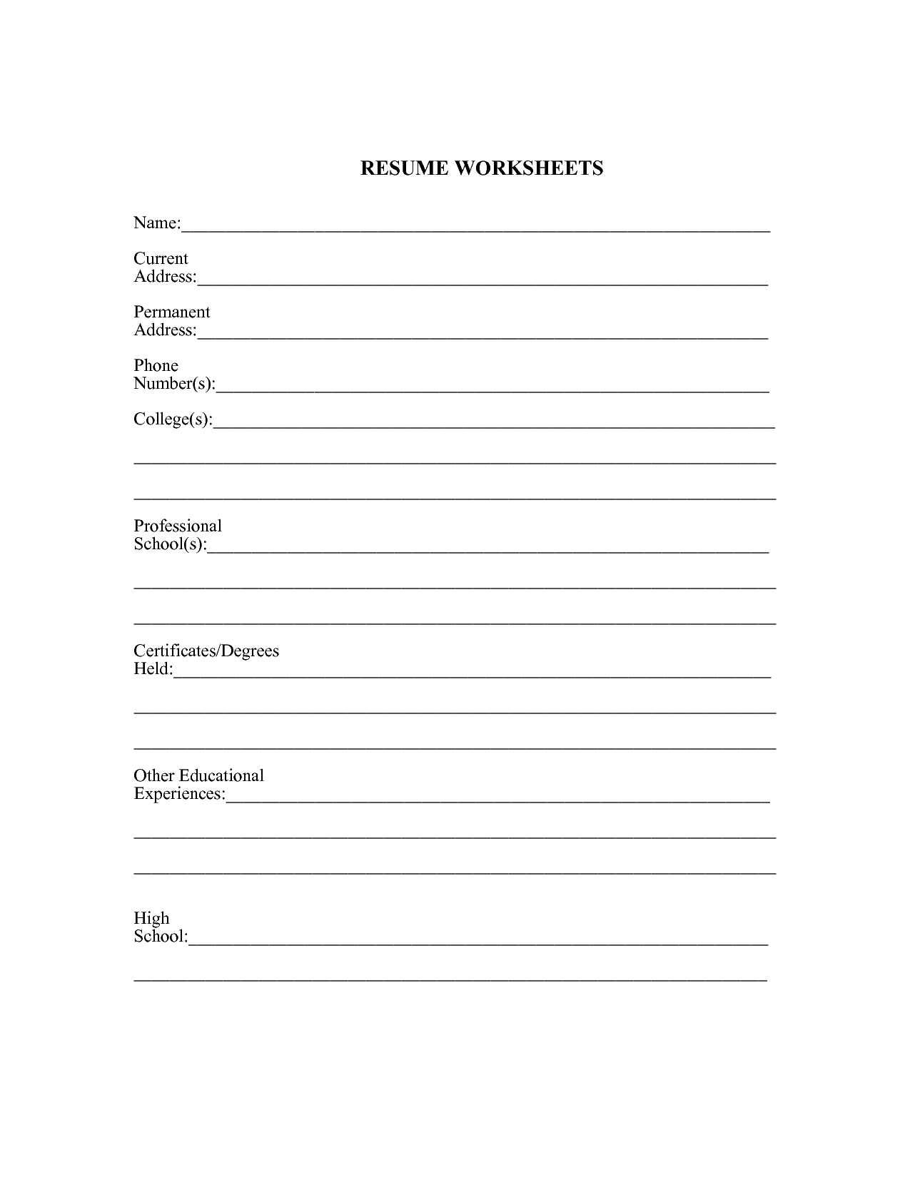 15 Best Images Of Career Experience Worksheets