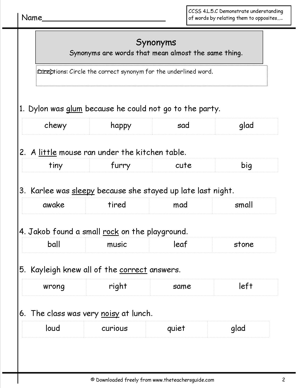 hight resolution of Free Synonyms Worksheets   Printable Worksheets and Activities for  Teachers