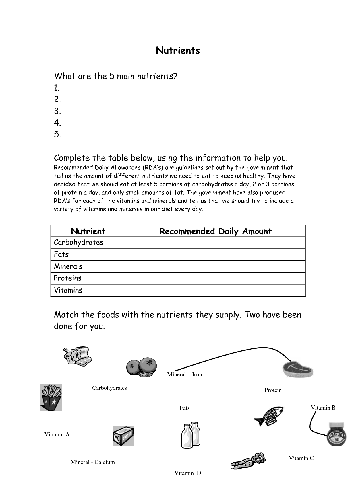 Worksheet On Vitamins
