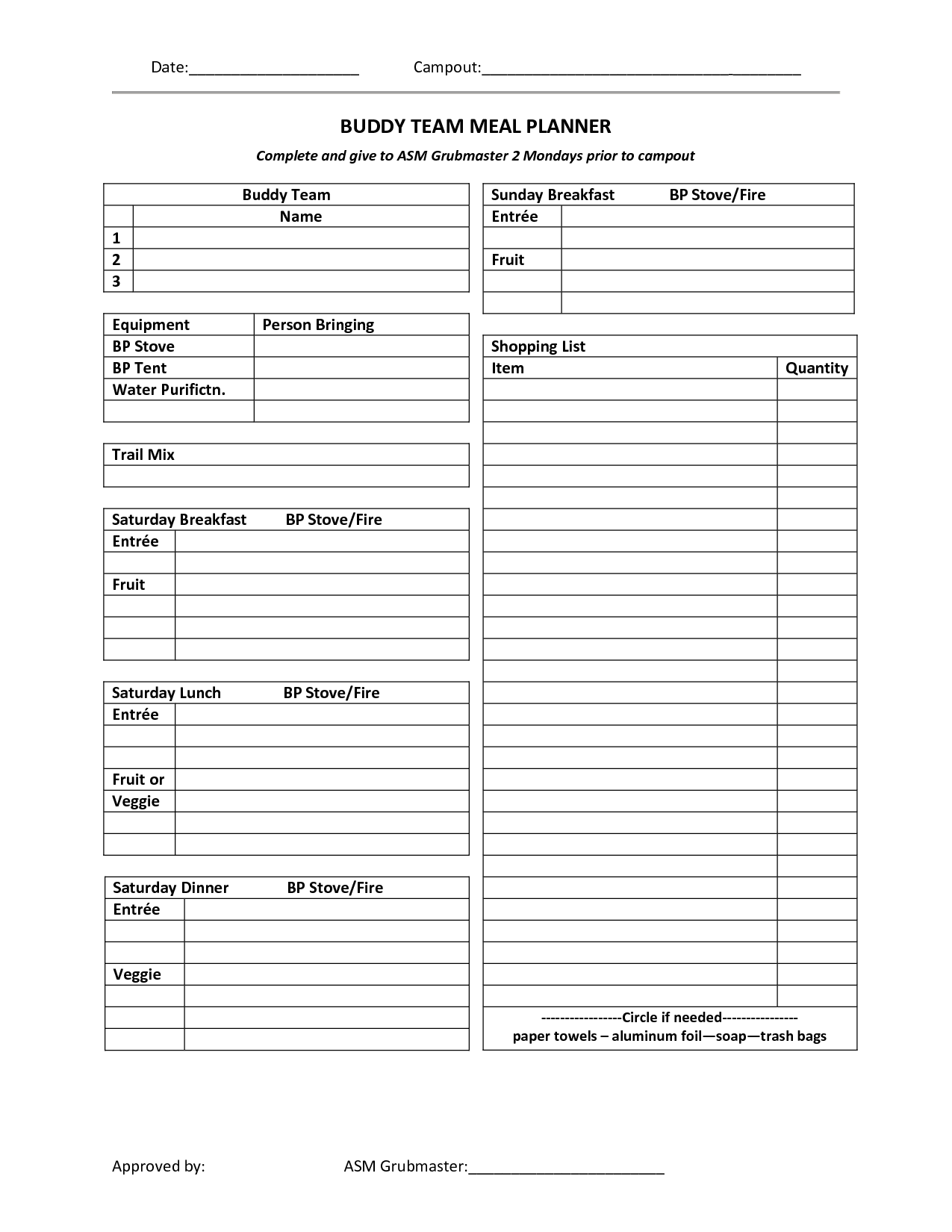 30 Boy Scout Planning Worksheet