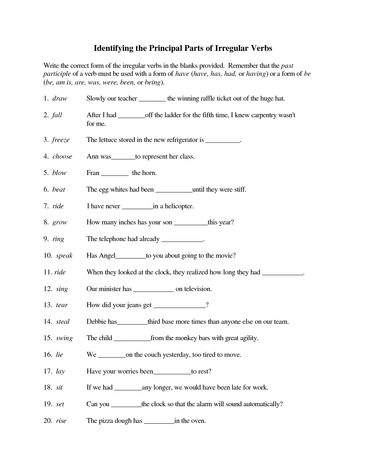French Verb Test Printable