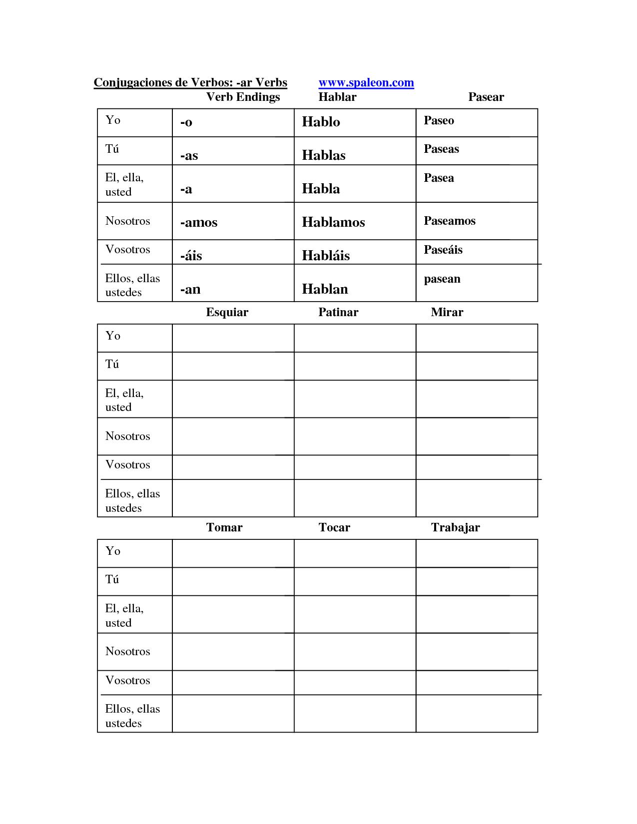 13 Best Images Of Spanish Verb Conjugation Worksheets