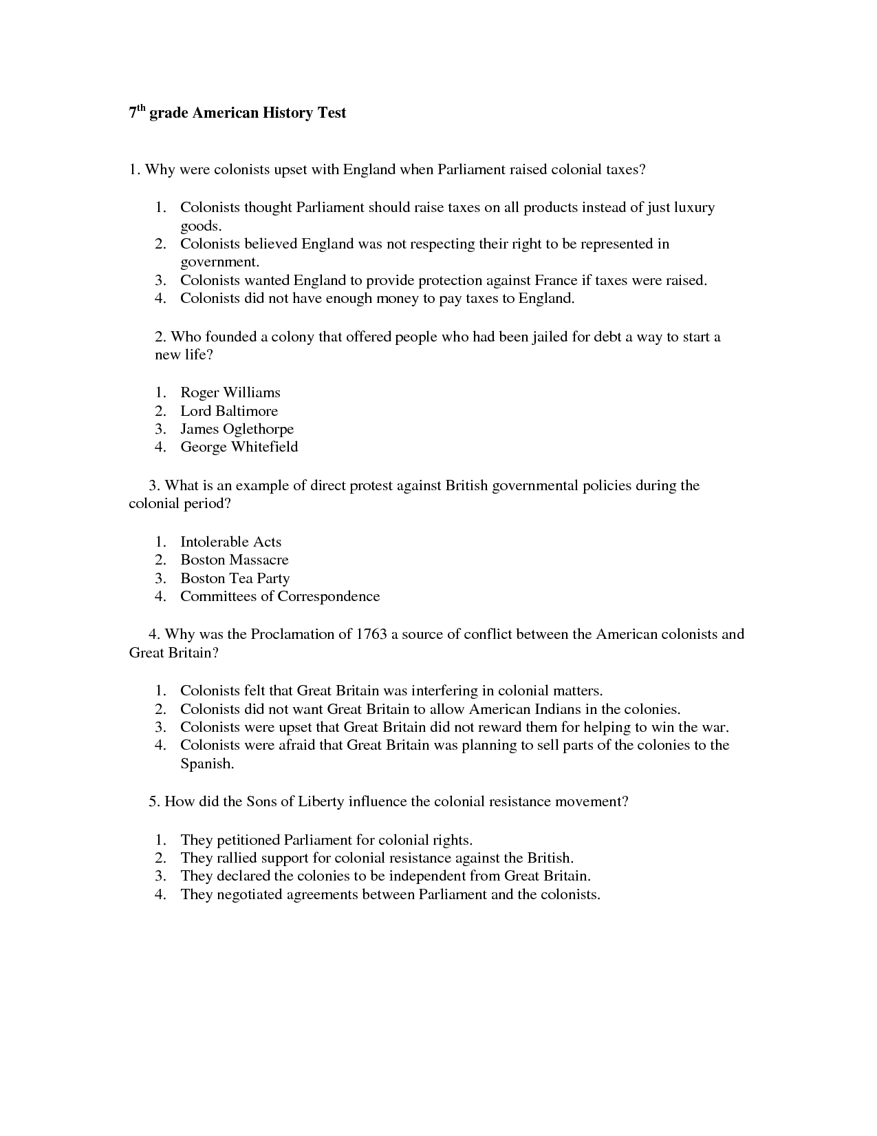 History Worksheet For Grade 3