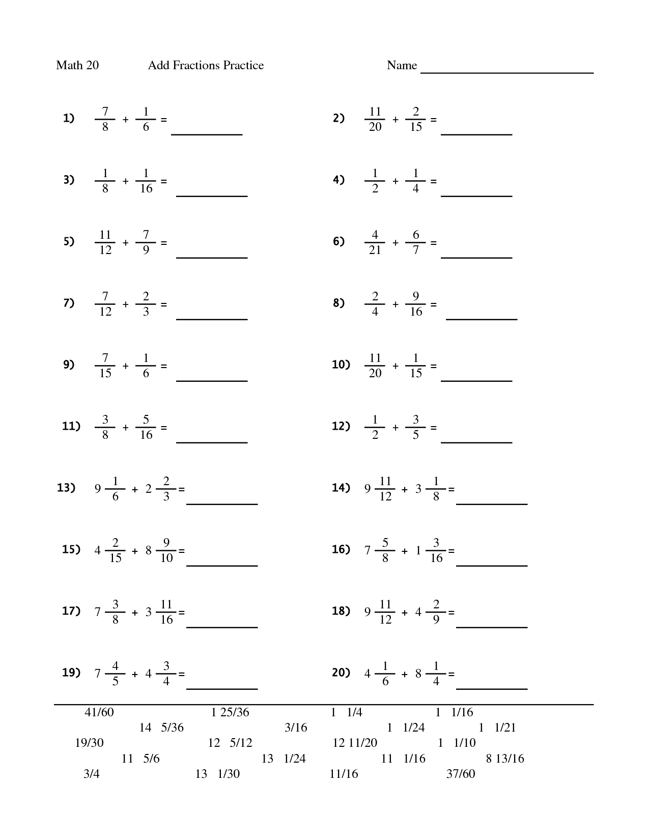 Year 7 Math Fractions Worksheet