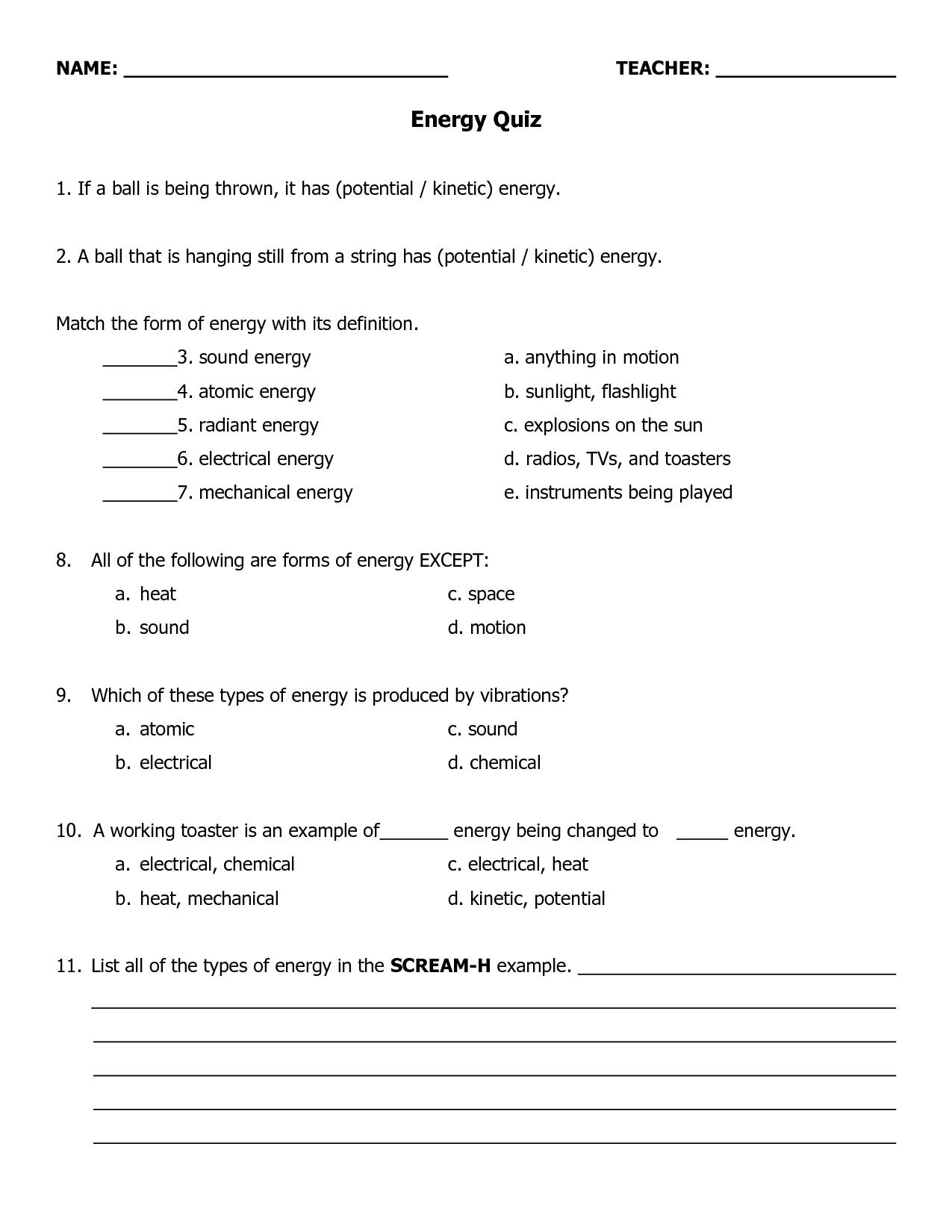 Energy Worksheet 4th Grade