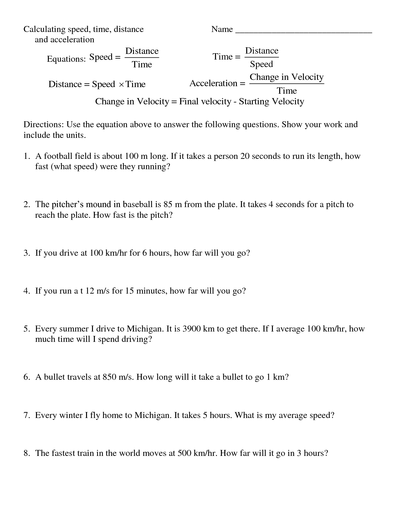 10 Best Images Of Distance Formula Worksheet
