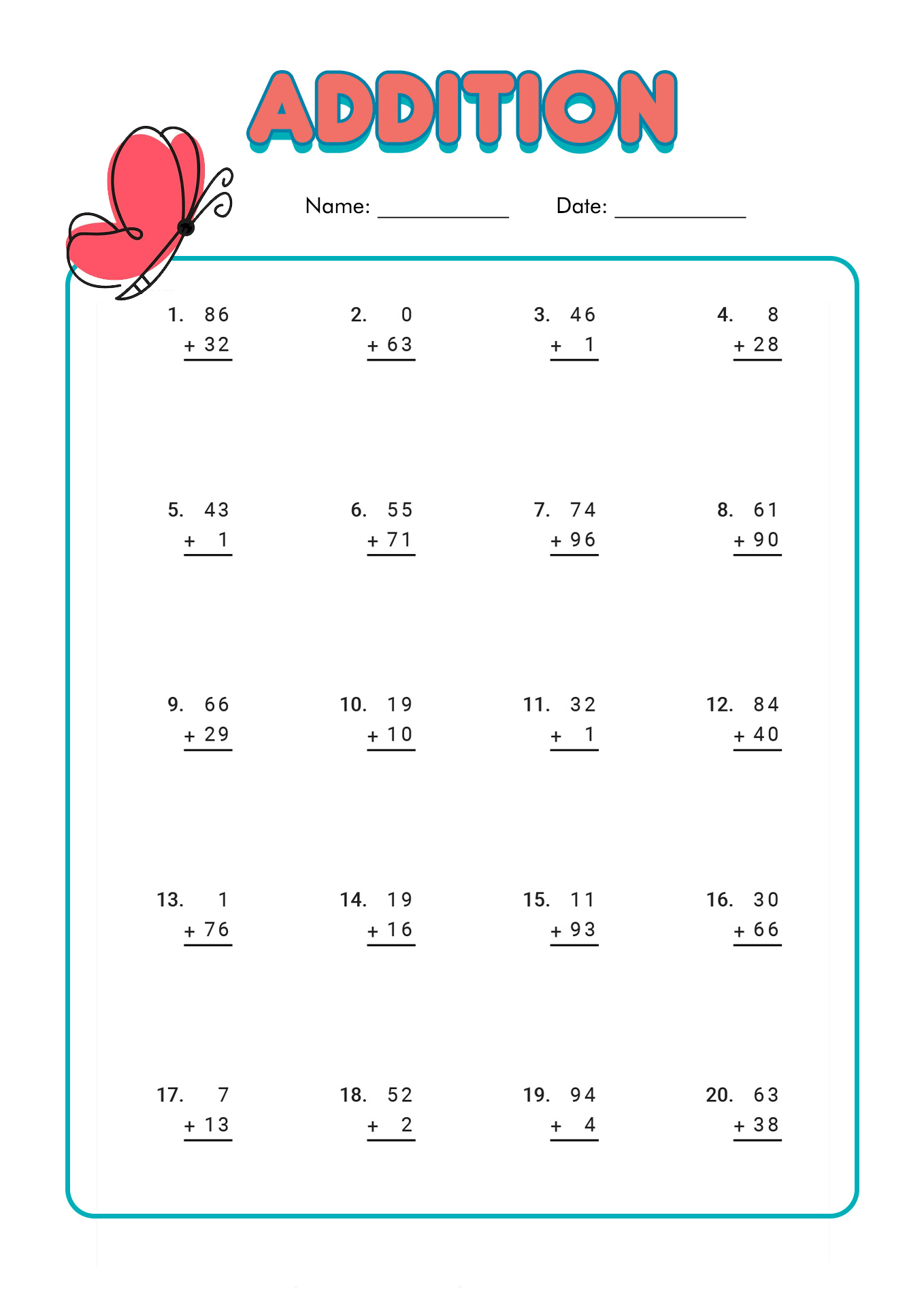 1st Grade Worksheet Category Page 1
